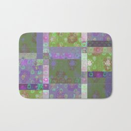 Lotus flower purple and lime green stitched patchwork - woodblock print style pattern Bath Mat