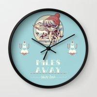 miles davis Wall Clocks featuring MILES AWAY by MFK00 aka Alex Arizmendi