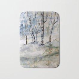 Winter, Landscape painting, Birches, Nature, Watercolor original painting Bath Mat