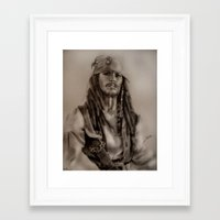 jack sparrow Framed Art Prints featuring Captain Jack Sparrow by Svartrev