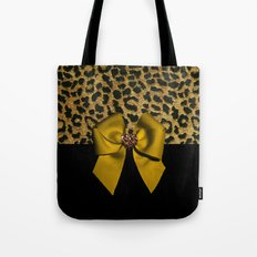 Golden Bow on Leopard Print Tote Bag