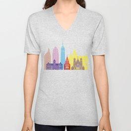 Minneapolis V2 skyline pop Unisex V-Neck