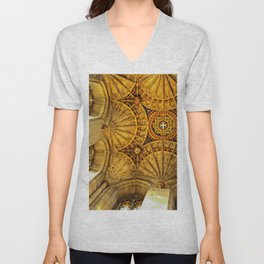 Looking to heaven: fan ceiling in Canterbury Cathedral Unisex V-Neck