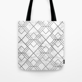 Geometrical white gray faux silver marble Tote Bag