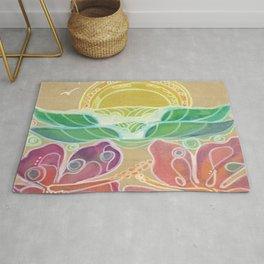 Double Hibiscus Surf Art by Lauren Tannehill Art Rug