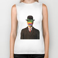 magritte Biker Tanks featuring Son of Apple Parody René Magritte by eatpersonality