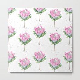 Protea Floral Pattern (white) Metal Print