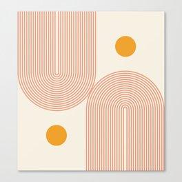 Abstraction_SUN_DOUBLE_LINE_POP_ART_Minimalism_001C Canvas Print