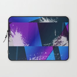 Purple and Cyan Abstract Glitch Collage Laptop Sleeve