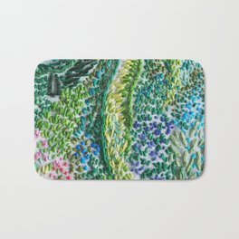cheerful handmade embroidery in the digital world Bath Mat