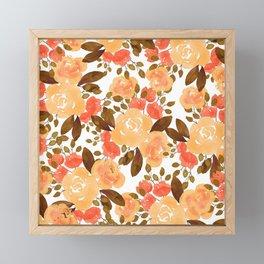Winter fall gold orange brown watercolor roses floral Framed Mini Art Print
