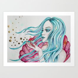 Watercolor mermaid fantasy art Art Print