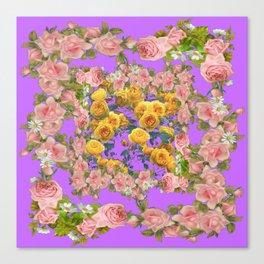 PINK & YELLOW SPRING ROSE GARDEN LILAC PURPLE VIGNETTE Canvas Print