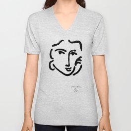 Henri Matisse Nadia With a Serious Expression, Original Artwork, Tshirts, Prints, Posters Unisex V-Neck