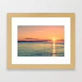 Pastel Sunset Calm Blue Water Framed Art Print