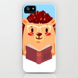 Adorable Hedgehog Book Nerd Shirt  Cute Pun Animal iPhone Case