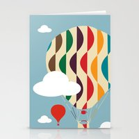 ballon Stationery Cards featuring hot air ballon by BruxaMagica_susycosta