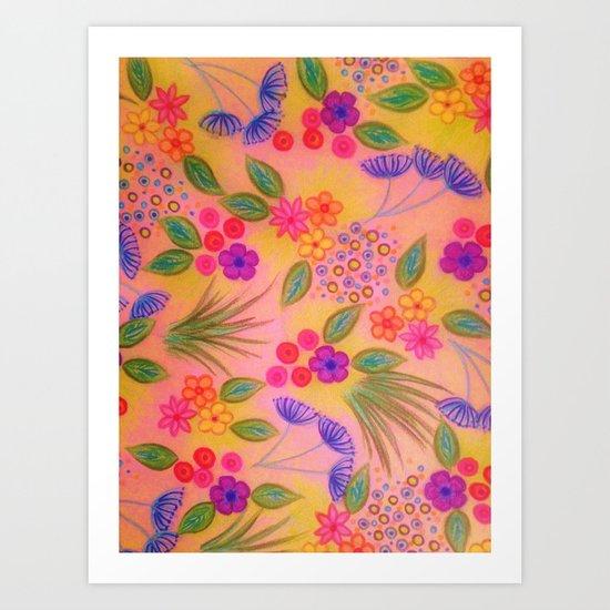 WILDFLOWER FANCY 2 - Cheerful Pink Lovely Floral Garden Pattern Girly Feminine Trendy Flowers Art Print