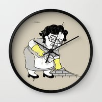 banksy Wall Clocks featuring Misser Banksy No Es Here by dann matthews