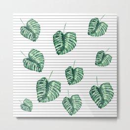 Banana Leaf Pattern and Minimal Black and White Stripes Metal Print