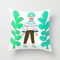 Women and cactus. Throw Pillow