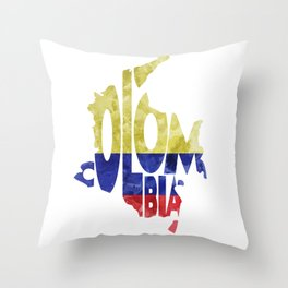 Colombia Typographic World Map / Colombia Typography Flag Map Art Throw Pillow