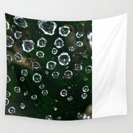 Spiderweb Water Droplets  Wall Tapestry