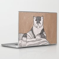 snow leopard Laptop & iPad Skins featuring Snow Leopard by Diana Hope