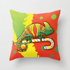 Christmas Chameleon Throw Pillow