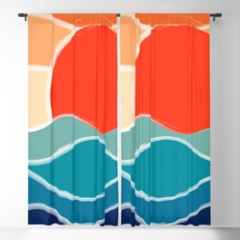 Retro 70s and 80s Color Palette Mid-Century Minimalist Nature Waves and Sun Abstract Art Blackout Curtain