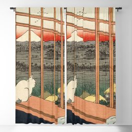 Hiroshige, the cat or Asakusa Ricefields and Torinomachi Festival Blackout Curtain