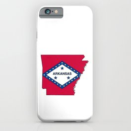 Arkansas Map with Arkansan Flag iPhone Case