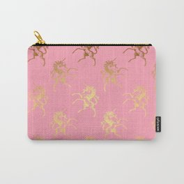 Gold elegant Unicorns on pink pattern Carry-All Pouch