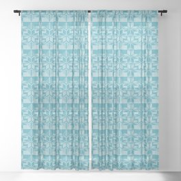Fair isle knit - Teal Sheer Curtain