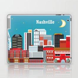 Nashville, Tennessee - Skyline Illustration by Loose Petals Laptop & iPad Skin