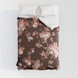 Modern burgundy rose gold coral glitter floral Comforters