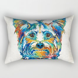 Colorful Yorkie Dog Art - Yorkshire Terrier - By Sharon Cummings Rectangular Pillow