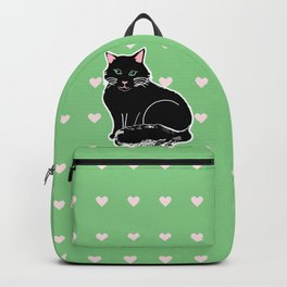Black Fluffy Cat Pink & Green Backpack