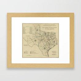 Vintage Texas Highway Map (1917) Framed Art Print
