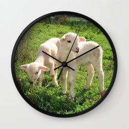 Spring Lambs Grazing On Farmland Wall Clock