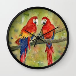 Scarlet Macaw Parrots Wall Clock