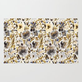 Gold and Grey Fall Feels Floral Rug
