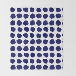 Aria - indigo brushstroke dot polka dot minimal abstract painting pattern painterly blue and white  Throw Blanket