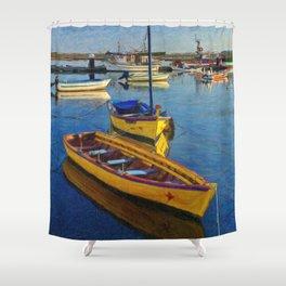 Yellow fishing boat, Santa Luzia, Portugal Shower Curtain