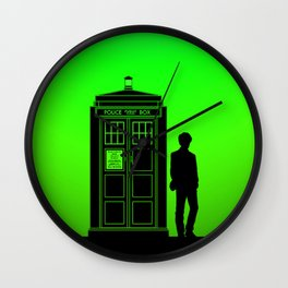 Tardis With The Eleventh Doctor Wall Clock