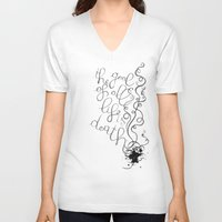freud V-neck T-shirts featuring The goal of all life is death. - S. Freud by Beatrice Bogoni