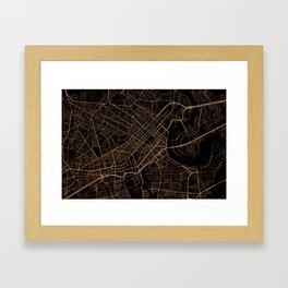Black and gold Ho Chi Minh map, Vietnam Framed Art Print