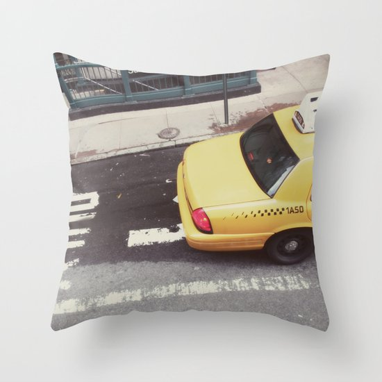 one way taxi:: nyc Throw Pillow