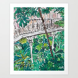 Kew Gardens Jungle Botanical Painting Greenhouse Art Print