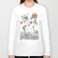travel poster Long Sleeve T-shirts featuring Voyages over Edinburgh by David Fleck